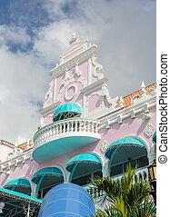 bâtiment, tropiques, stuc, coloré