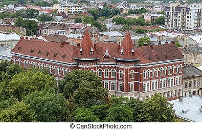 bâtiment, ukraine, lviv, vue aérienne