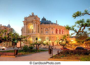 bâtiment, ukraine, vieux, théâtre, opéra, nuit, odessa