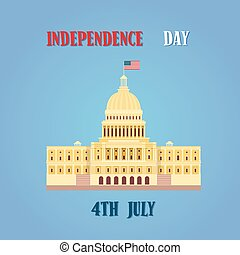 bâtiment, uni, capitole, sénat, maison, etats, amérique, jour, indépendance
