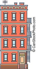 bâtiment, uni, vieux, vendange, -, isolé, illustration, ...