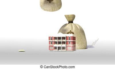 bâtiment, université, école, signe, collage, prêt, argent, dépenses, bills., tomber, education, campus