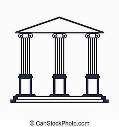 bâtiment, université, icône