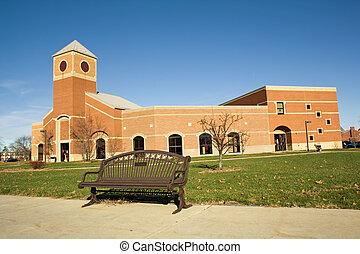 bâtiment, universitaire, campus collège