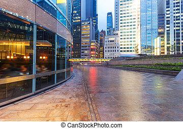 bâtiment, urbain, bureau, ville, moderne, extérieur