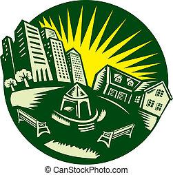 bâtiment, urbain, parc, woodcut, maison
