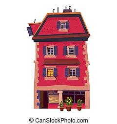 bâtiment, urbain, style, café, vieille ville, restaurant, isolé, illustration, intérieur, maison, business, fleurs, rue, vecteur, privé, historique, dessin animé, concept., architecture