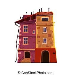 bâtiment, urbain, style, vieille ville, restaurant, isolé, illustration, intérieur, maison, business, historique, privé, vecteur, dessin animé, concept., architecture