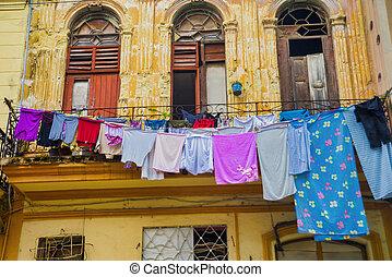 bâtiment, urbain, vieux, cuba, colonial, scène, façade, havane