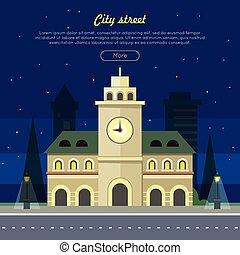 bâtiment, urbain, ville, illustration, time., nuit