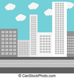 bâtiment, urbain, zone affaires