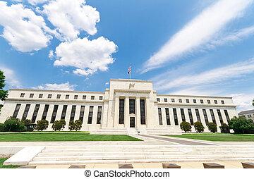 bâtiment, usa, fédéral, washington dc, banque, réserve