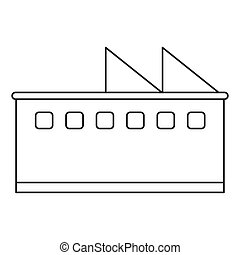 bâtiment, usine, icône