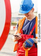 bâtiment, utilisation, ouvrier, téléphone