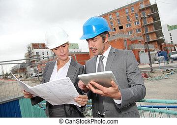 bâtiment, vérification, site, construction, plan, ingénieurs