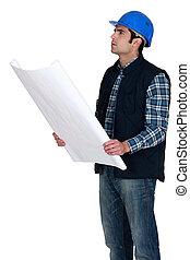 bâtiment, vérifier, ouvrier construction, dessin