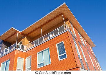 bâtiment, vêtu, moderne, détail, extérieur, copropriété, bois construction