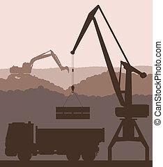 bâtiment, vecteur, camion, site, fond