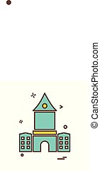 bâtiment, vecteur, conception, icône