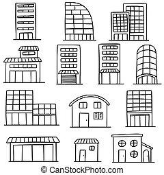 bâtiment, vecteur, ensemble