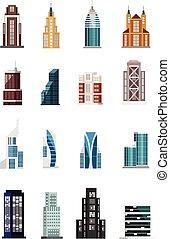 bâtiment, vecteur, ensemble, icône