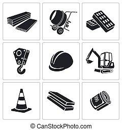 bâtiment, vecteur, ensemble, icônes