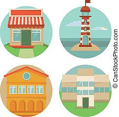 bâtiment, vecteur, icônes