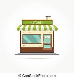 bâtiment, vecteur, illustration, magasin