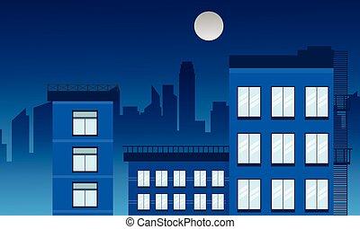 bâtiment, vecteur, illustration, paysage