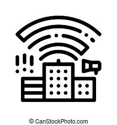 bâtiment, vecteur, ligne mince, radiowaves, icône