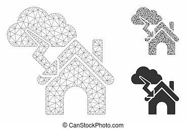 bâtiment, vecteur, triangle, réseau, maille, orage, modèle, mosaïque, icône