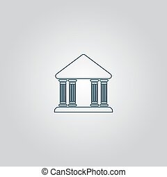 bâtiment, vecteur, tribunal, icône