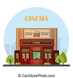 bâtiment, vector., cinéma