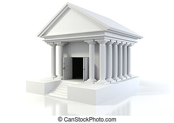 bâtiment, vendange, fond, blanc, icône, banque, 3d