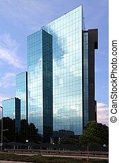 bâtiment, verre, bureau
