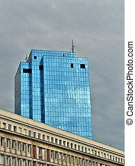 bâtiment, verre, bureaux