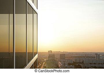 bâtiment, verre, coucher soleil, reflété, bureau
