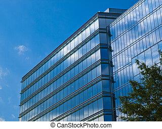 bâtiment, verre, façade