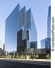 bâtiment, verre, moderne, bureau
