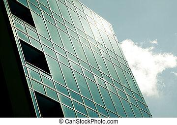 bâtiment, verre, moderne, constitué