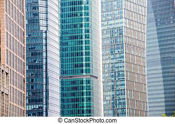 bâtiment, verre, moderne, fond, mur