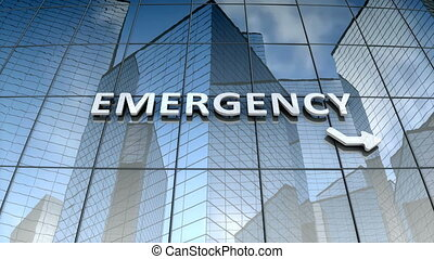 bâtiment verre, signage, urgence