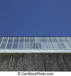 bâtiment, verre, toit