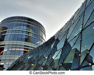 bâtiment, verre, tour, toit