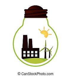 bâtiment, vert, usine, icône
