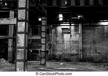 bâtiment, vieux, abandonnés, délabrement, entrepôt, intérieur