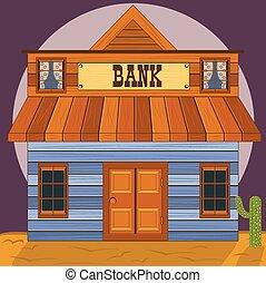 bâtiment, vieux, bureau, ouest, -, banque