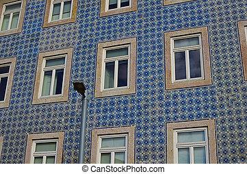 bâtiment, vieux, céramique, azulejo, façade, couvert, t