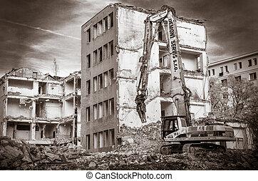bâtiment, vieux, démolition