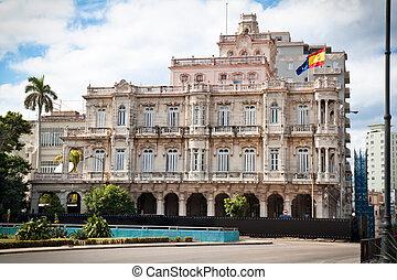 bâtiment, vieux, havane, ambassade, espagnol